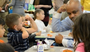 Denver Mayor Michael Hancock shows the power of breakfast at Ellis Elementary, Dec. 11