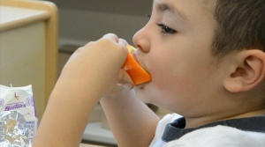 An Ellis kindergartener starts the day off right with a healthy breakfast, Dec. 11