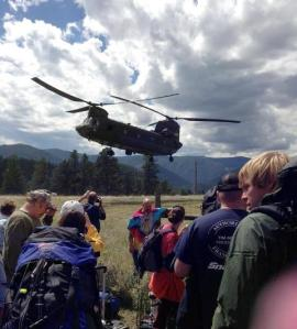 The Army evacuates residents of Drake two days after the heavy rains hit.