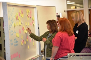 Edcamp participants start the day by choosing their training topics