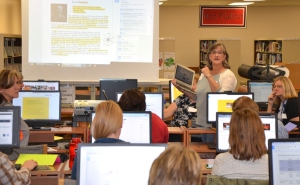 Becky Johnson leads the class on Google Docs