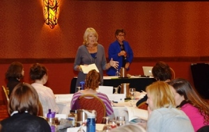 Linda and Peg start the initial Theory discussion at the Sep. class in Loveland.
